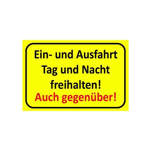 Einfahrt freihalten Schilder  Ausfahrt freihalten Schild - auch gegenüber   Parken verboten   Garage Tag und Nacht freihalten (30x20 cm) (1 Stk. Einfahrt freihalten Tag und Nacht)