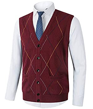 Homovater Mens Casual V-Neck Knitted Vest Sleeveless Sweaters Cardigan Button Down Knitwear Tank Top with Ribbing Edge Argyle Burgundy Large