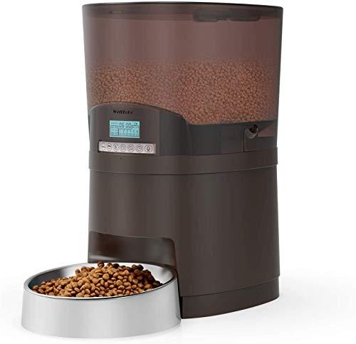WellToBe Comedero automático Gatos y Perros - 7L dispensador de alimentación automático con Temporizador hasta 6 Comidas al día, Programable, Grabadora de Voz y Altavoz, Fuente de alimentación Dual