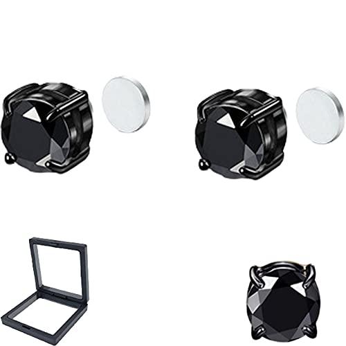 1/4 pares de pendientes de acero inoxidable con cierre magnético para los oídos, sin perforación, 6/8 mm, multicolor, circonita cúbica, da dos cajas de joyería, 8MM, Acero inoxidable,