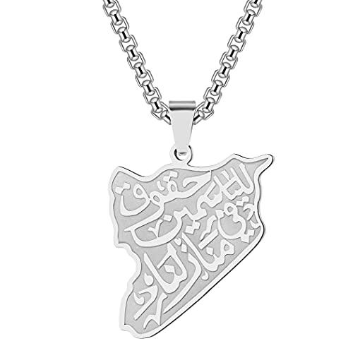 Syrien Karte Halskette Frauen Männer Berühmte Arabische Gedicht Vers Anhänger Edelstahl Gravur Arabisch Charme Talisman Amulett Heidnischen Schmuck Geschenk