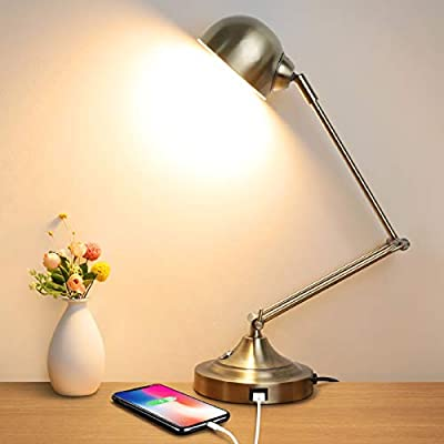 LED Desk Lamp with USB Charging Port, Swing Arm, Fully Dimmable, 3 Color Modes