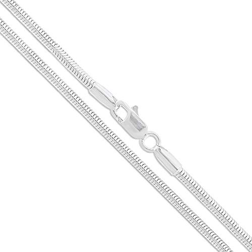 Sterling Silver 2MM, 2.5MM, 3MM, 4MM, 5MM Solid Round Snake Chain Necklace- Flexible Snake Chain Necklace, Round 925 Sterling Silver Necklace,Made In Italy, Men and Women Jewelry Accesorries Gadgets