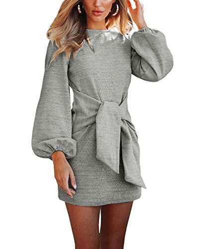 R.Vivimos Women's Autumn Winter Cotton Long Sleeves Elegant Knitted Bodycon Tie Waist Sweater Pencil Dress (Large, Light Gray)