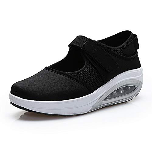 [Tisomen] ナースシューズ ウオーキングシューズ レディーズ クッション 滑りにくい歩きやすい 疲れない 通勤 カジュアル 普段履き 23.0 ブラック 黒36