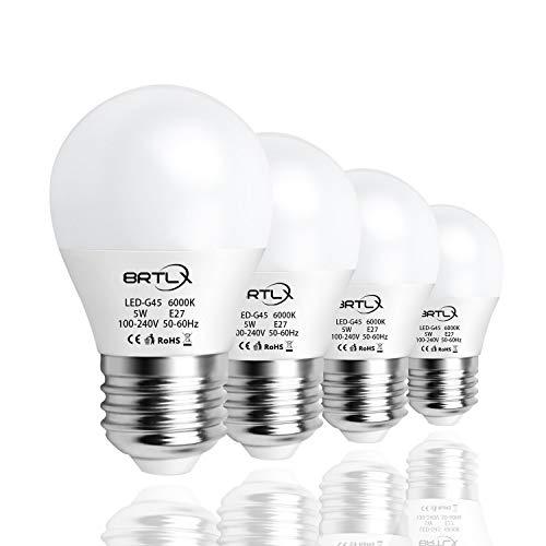 BRTLX 5W G45 Bombilla LED Mini Globo Blanco Frio 6000K E27 Incandescente Equivalente a 45W Ángulo de Haz 220Grados 400Lm No Regulable 4 Unidades
