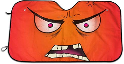 Cartoon Angry Eyes red face Theme Windshield Sun Visor car Window Interior Sun Visor kit Ornament Decoration Outdoor Vehicle Accessories Awning car for Men