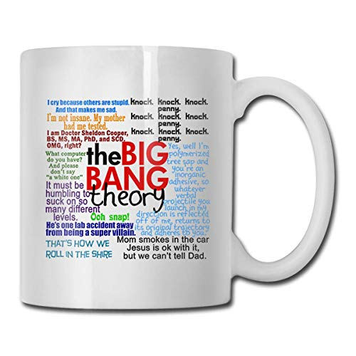 ZTLKFL The BIG Bang Theory Quotes Ceramic White Mug Funny Quotes Coffee Mug Coffee Tea Drinking Cup with Handle 11 Oz Two Sides