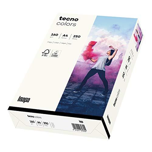 inapa farbiges Druckerpapier, buntes Papier tecno Colors: 160 g/m², A4, 250 Blatt, naturweiß