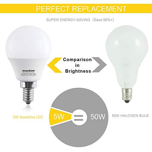E12 LED Bulb 50 Watts, Aooshine 5 Watt LED Candelabra Bulb, Warm White 2700K Decorative G14 LED Bulbs for Ceiling Fan Non-Dimmable(Pack of 6)