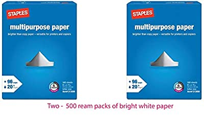 Staples Multipurpose Copy/Fax/Laser/Inkjet Printer Paper, 96 Brightness, 20 lb, Letter Size (8.5 x 11), Ream, 500 Total Sheets (513099)