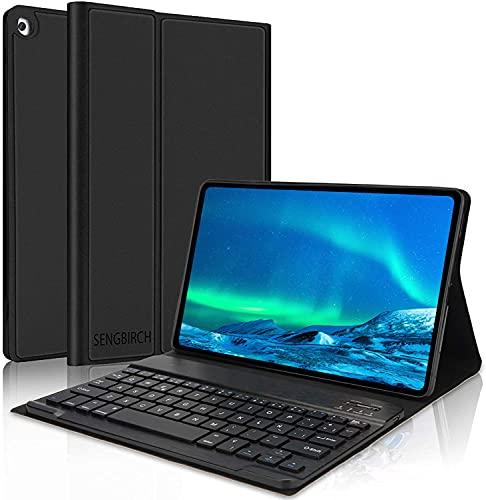 SENGBIRCH Funda con Teclado para Galaxy Tab A 10.1 2019, Teclado Bluetooth extraíble con Cover Protectora Delgada para Samsung Galaxy Tab A T510/T515/T517,Negro