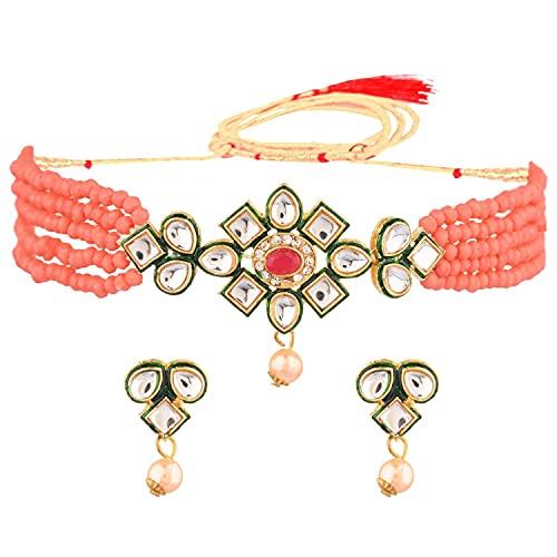 Efulgenz Juego de joyas indias de cristal Kundan Gargantilla de perlas de imitación de varias capas con cuentas collar y pendientes Bollywood conjunto de joyas para mujer, Metal, desconocido,