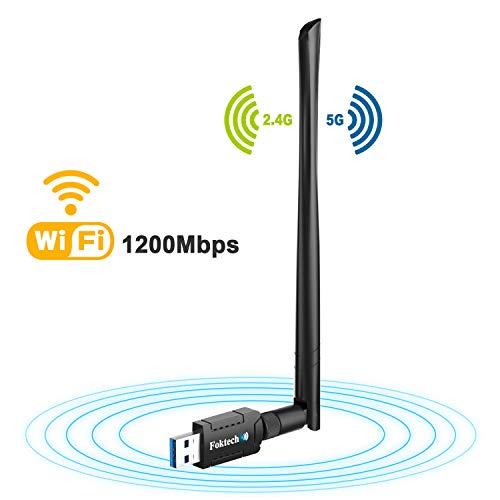 Foktech Adaptador WiFi, AC1200 USB 3.0 Wireless Network Dongle para Escritorio/Portátil, Dual...