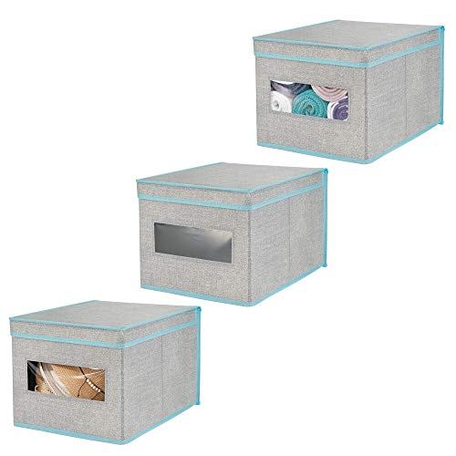 mDesign Soft Fabric Stackable Closet Storage Organizer Holder Bin Box with Clear Window, Attached Lid - for Bedroom, Hallway, Entryway, Closet, Bathroom, Textured Print, Large, 3 Pack - Gray/Teal Blue