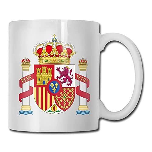 Taza de café con diseño de escudo de armas de España, regalos divertidos para amigos Coworker 11 oz