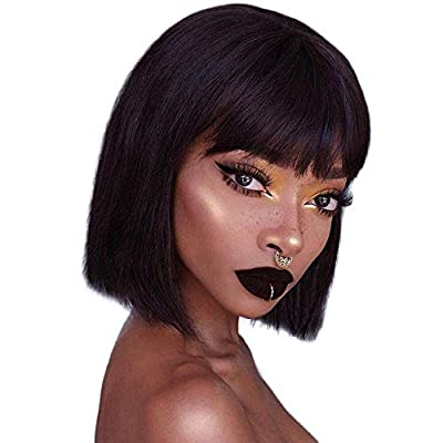 Short Bob Wigs Brazilian Straight Human Hair Wigs 130% Density None Lace Front Wigs Glueless Machine Made Wigs For Women 150g