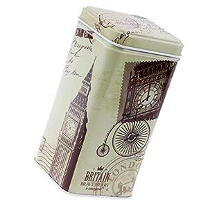 Sharplace Boîte en Fer Dessin Divers Boîte Carrée Vintage pour Thé Café Bijoux Clés