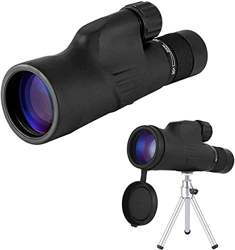 XUELIAN Telescopio monocular, telescopio de Alta Potencia 10-30x50, visores monoculares de Doble Enfoque, Resistente al Agua, con Poca luz, Lente de Prisma con trípode de Clip para teléfono