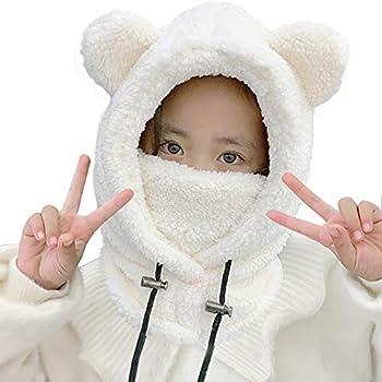 VARWANEO Baby Girls Winter Hat Boys Warm Plush Furry Cute Bear Scarf Hat Kids Thick Earflap Hood Cap with Ear  White 3-12y