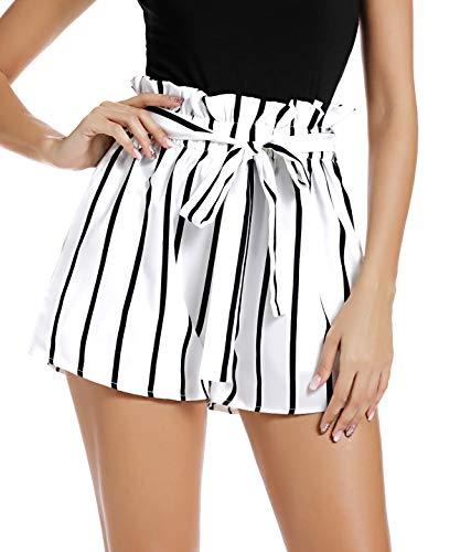 MISS MOLY Kurze Hose Damen Sommer Shorts Gestreift Hohe Taille mit Bindergürtel Leicht Weiß Large