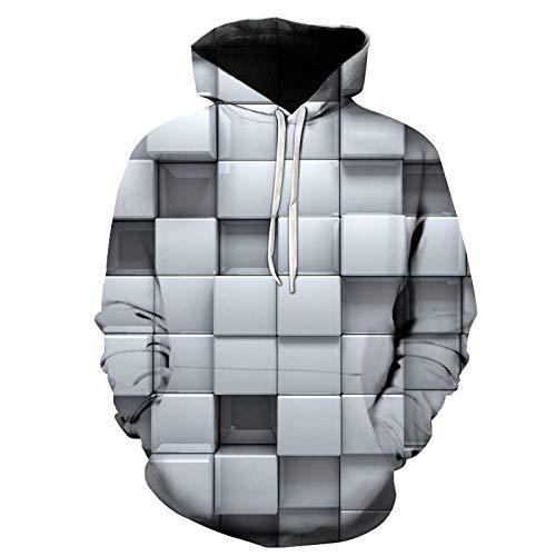 WYxiaobaozi 3D Printed Sweatshirt, Unisex Casual Sweatshirt Hoodie Sweater Met Zakken 3D Gedrukt Abstract Eenvoudig Grijs Mozaïek Paar Jacket-Yx0733-Baseball Uniform Voor Student Top Coat