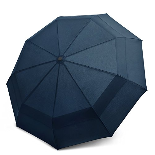 Windproof Travel Umbrella - Compact, Double Vented Folding Umbrella w/Automatic Open & Close Button - Portable, Lightweight Outdoor & Golf Rain Umbrellas w/UV Protection, Navy Blue