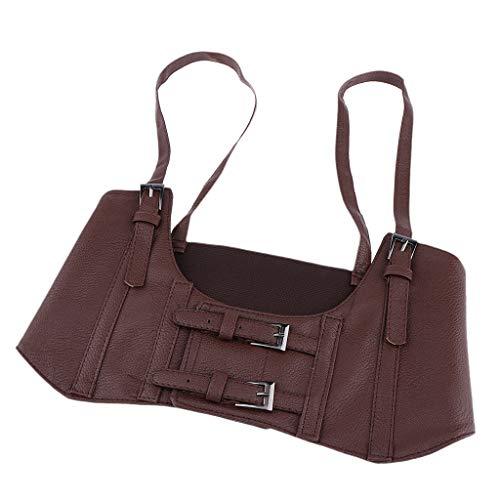 joyMerit Cinturón de Cintura de Banda Ancha Elástica de Cuero para Mujer - marrón, tal como se describe