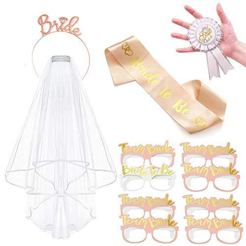 Vibury JGA Deko Accessoires, 12 Stück Hochzeit Braut Dusche Tiara, Bride to be schärpe, weißer Schleier mit Kamm, Gläser, Abzeichen für Henne Nacht Party Dekoration