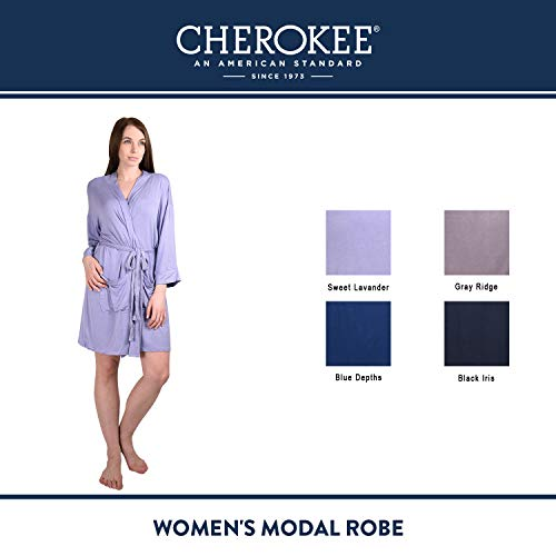 Cherokee-Womens-Modal-Robe-Lightweight-and-Stylish-V-Neck-Short-Bathrobe-Sleepwear-Loungewear