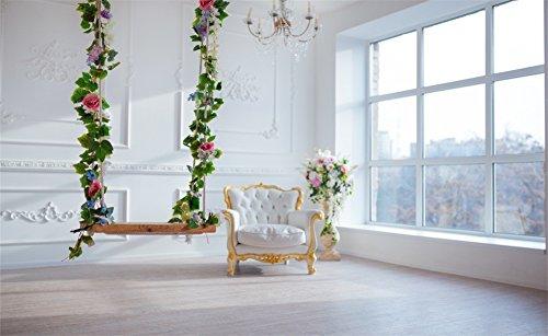 Leowefowa Vinyl 5X3FT Wedding Backdrop Interior Flowers Green Leaves Vine Swing White Chair Droplight French Sash Wood Floor Photography Background Girls Baby Photo Studio Props