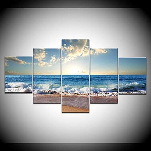 Beach Waves 5 Piece Canvas Painting Ocean Modern Modular Wall Poster Canvas Art Painting Frameless For Home Living Room Decoration