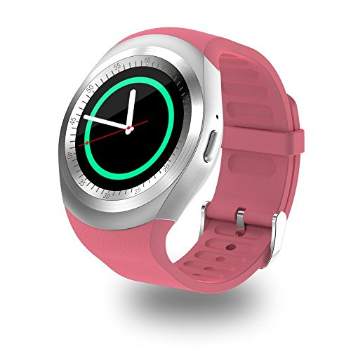 WIM Y1 SmartWatch Touch Screen Support Micro SIM Card with Bluetooth 3.0 Camera Sleep Monitor Outdoor Fitness Compatible with iOS Android (Pink)