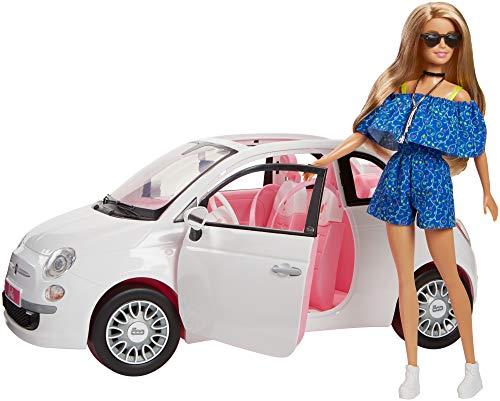 Barbie FVR07 - Puppe und Fiat 500 Auto in weiß und pinker Inneneinrichtung, Puppen und Puppenzubehör Spielzeug ab 3 Jahren