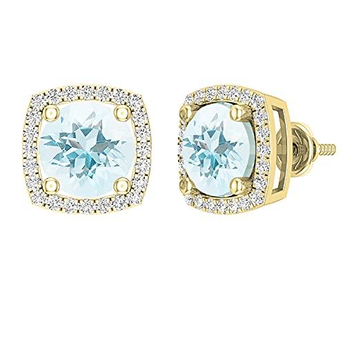 Dazzlingrock Collection Pendientes redondos de 8 mm de aguamarina y diamantes blancos para mujer, estilo halo de oro amarillo de 18 quilates