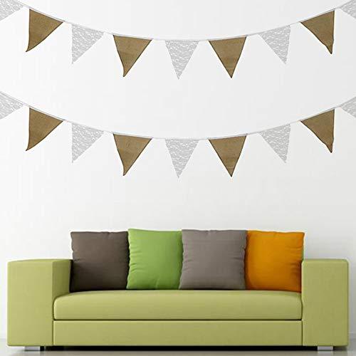 Guirnalda de banderines de arpillera vintage de tela de yute rústico para decoración de bodas, fiestas de cumpleaños, banderas al aire libre
