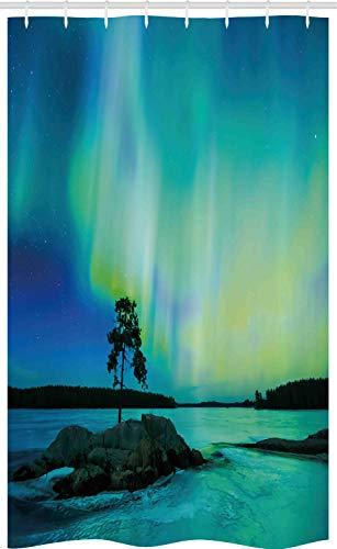 ABAKUHAUS Noorderlicht Douchegordijn, Rocky Stone River, voor Douchecabine Stoffen Badkamer Decoratie Set met Ophangringen, 120 x 180 cm, Teal Blue Lime Green