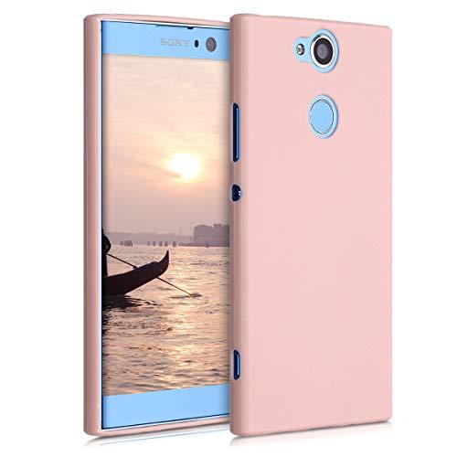 kwmobile Coque Compatible avec Sony Xperia XA2 - Housse Protectrice pour Téléphone en Silicone Or rosé Mat