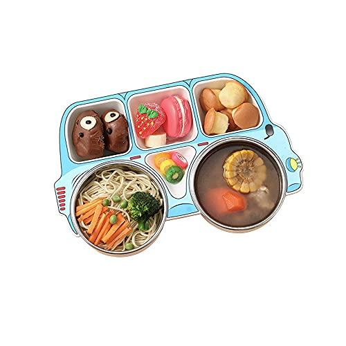 CMJLBM Platos de cena de acero inoxidable para bebés, con forma de coche, 5 secciones, bandeja dividida, sin BPA, bandejas de comida para niños pequeños (azul)