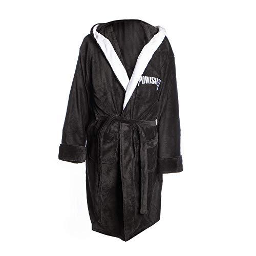 Marvel The Punisher Adult One Size Bademantel   Unisex Adult Robe   Fleece-Morgenkleid   Schwarze Robe mit Motiv   Eine Grösse passt allen