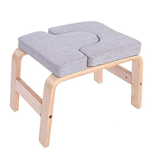 ANINSD Yoga Inversion Stuhl, Yoga Aids Workout Stuhl, Yoga Kopfstand Bench Birke/Buche + Sponge Mat Stoff/PU Recycelte Baumwolle, Für Das Kraftgleichgewichtstraining,Schwarz