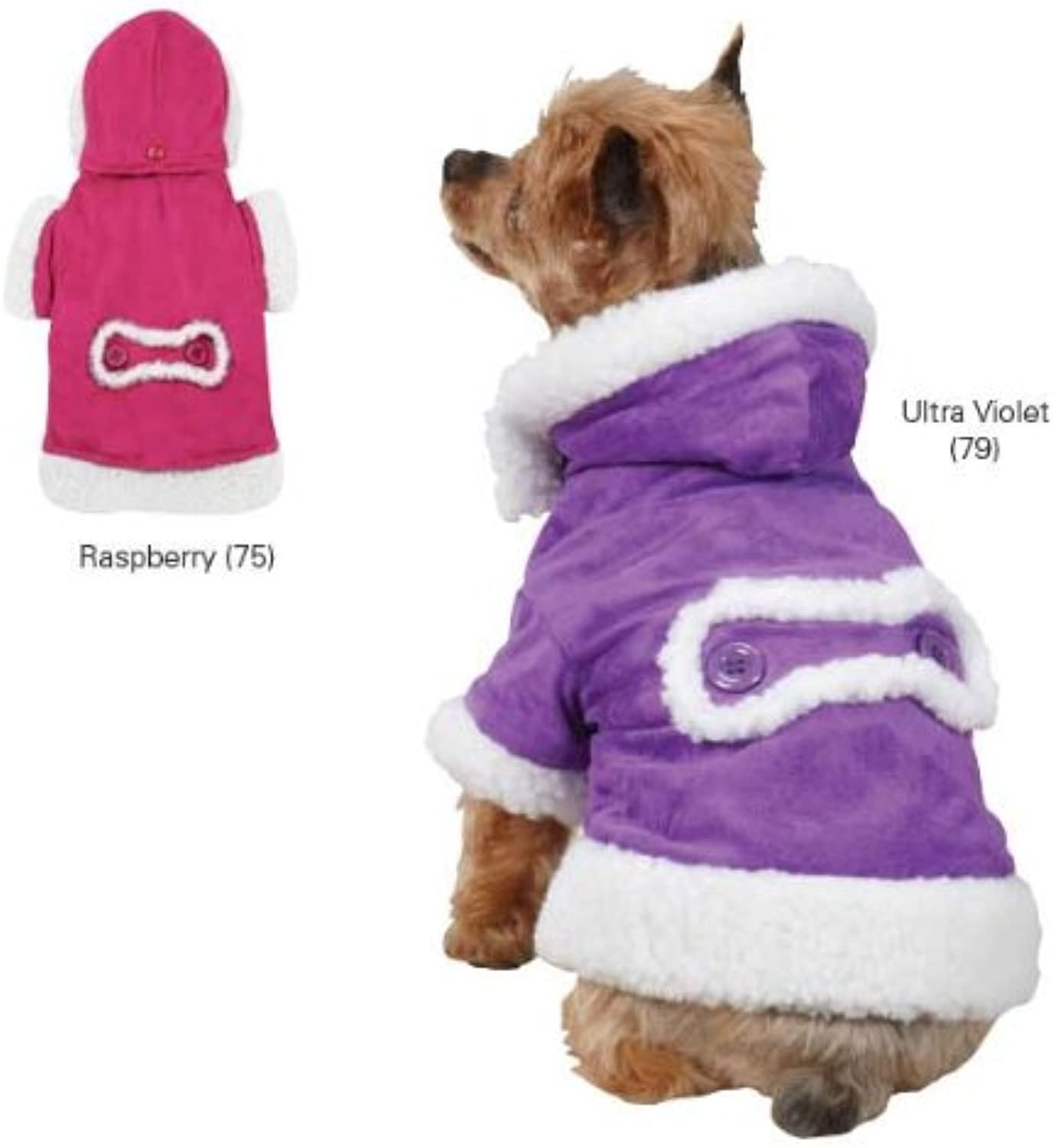 East Side Collection ZM3945 10 79 Hooded Sherpa Jacket for Dogs, XSmall, Ultra purple