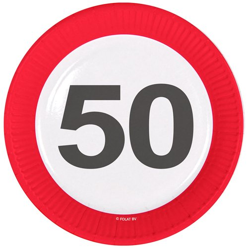 Traffic Sign 50th Party Plates 23cm