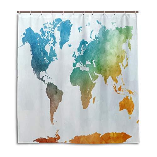 CPYang Duschvorhänge, Bunte Weltkarte, wasserdicht, schimmelresistent, für Badezimmer, Heimdekoration, 168 x 182 cm, mit 12 Haken
