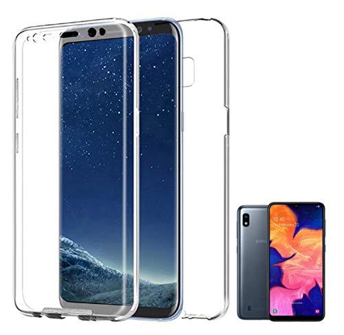 PLANETMOVIL Funda 360 Compatible con [ Samsung Galaxy A10] (6,2 Pulgadas) Carcasa Doble Cara 360 de Silicona Delantera + Trasera TPU rigido Doble 100% Transparente Enteriza y Completa