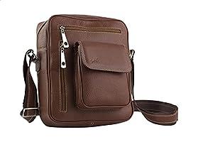 Seven K Genuine Leather Front-Pocket Detachable Shoulder Strap Zipped Crossbody Bag for Men -Brown