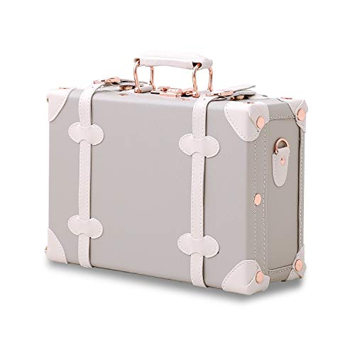 Unitravel Vintage Suitcase PU Little Handbag Cosmetic case Gray 12 inch (Gray)