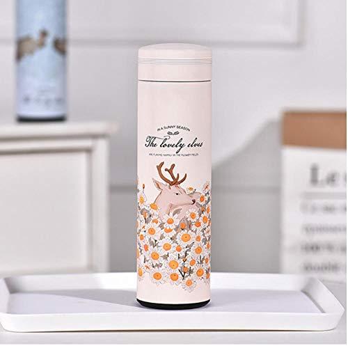 Acero inoxidable termo negocio flor animal patrón botella de agua frasco de vacío regalo taza recta 450ml -3