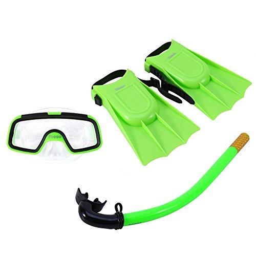 Bnineteenteam Schnorchel-Set für Kinder, Schnorchel-Pakete für Kinder im Alter von 3-4 Jahren mit Maske, Schnorchel-Scuba-Brille und Silikonfinnen (grün)