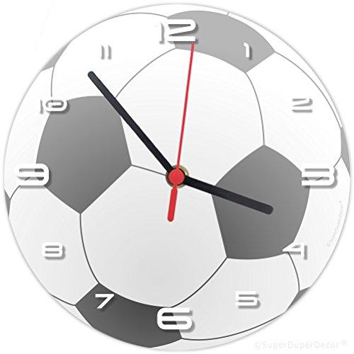 Superduperdecor calcio orologio da parete (si abbina alla ragazze dei bambini camera da letto Decor) palla da calcio Nero